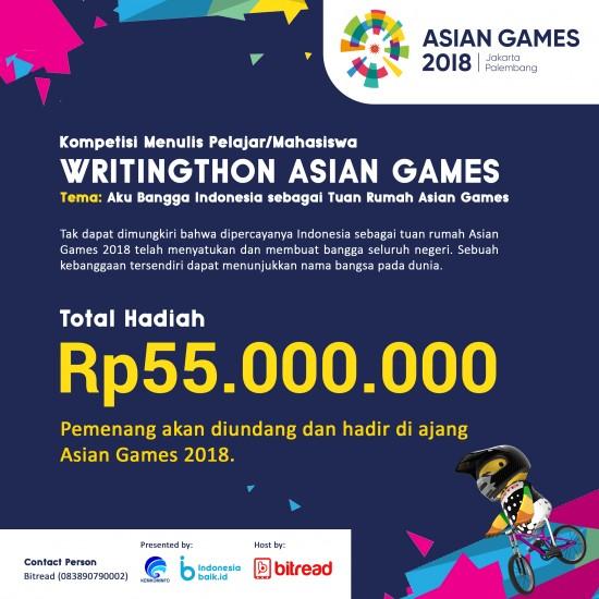 PENGUMUMAN PEMENANG WRITINGTHON ASIAN GAMES KATEGORI PELAJAR/MAHASIWA