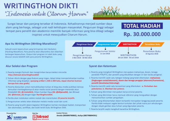 WRITINGTHON DIKTI : INDONESIA UNTUK CITARUM HARUM
